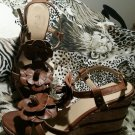 Women's Wanted Brown Flower Straps Wedge HeeLs Open toe Sandals. Sz 7.5M