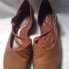 Artiva 'Bebe' Medium Brown Leather Mary Jane Flats Sz 6M Made in Brazil MRSP $69