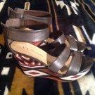 CL By Laundry Ines Women's Brown Open Toe Wedge Sandal EU 38 US 7M MRSP $60 EUC
