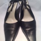 NINE WEST Women's Sz 7.5N Black Leather Square Toe Slingback Pump Shoes MRSP $68