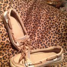 Sperry TopSider Angelfish Boat Shoes Size 2M YOUTH Linen & Oat Petite EUC