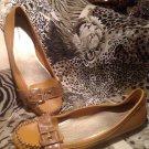 MERONA Women's Mustard Faux Leather Ballet Flat Slip On Shoe Flats Sz 9.5M