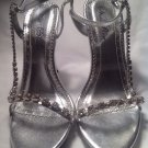 Silver High Stiletto 8.5M Open Toe Ankle Strap Dress Sandals Wild Rose Saxon04