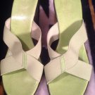 NEW DIRECTION WOMANS WEDGES SZ 8M LIME GREEN CRISS CROSS STRAP SLIDES OPEN TOE