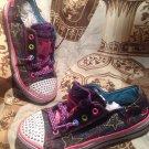 Girls Skechers 10418L Twinkle Toes Shuffle Sweet Twirlz Light Up Shoes SIZE 3Y