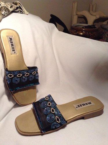 JUBILEE  Womens Black Beaded Slide Sandals Shoes 8.5M
