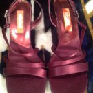 UNLISTED WOMENS BURGANDY MICROFIBER HEELED DRESS SLINGBACK SANDAL SZ 7.5M RT $64