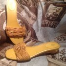 WOMEN'S SANDALS LIFESTRIDE LUAU SZ 7.5M YELLOW BEADED-TRANSLUCENT HEELS MRSP $69