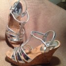 WOMEN'S COLIN STUART SILVER SHOES WEDGE HEEL SANDAL STRAPPY SIZE 5B SEXY CUTE