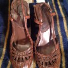 MISS BISON Womens Shoes Brown Platforms Size 9M SEXY SLINGBACKS BLOCK HEELS