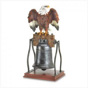 38446-EAGLE ON BELL FIGURINE