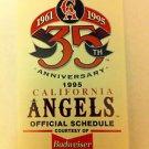 CALIFORNIA ANGELS 1995 POCKET SCHEDULE, MLB, BASEBALL, 35TH ANNIVERSARY, BUD,NR