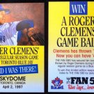 MLB ROGER CLEMENS, TORONTO BLUE JAYS, 1ST GAME AS JAY, 04/02/97, BASEBALL CARD
