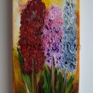 Hyacinths Impression Impasto Original Oil Painting Wild Flowers Garden Europe Artist