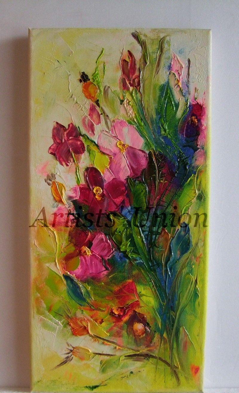 Wild Roses Impasto Original Oil Painting Impressionism Textured Flowers Garden Europe Artist