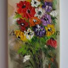 Anemones Palette Knife Original Oil Painting Impasto Art Floral Wild Flower Impression Europe Artist