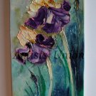 Irises Palette Knife Original Oil Painting Impasto Floral Art Purple Iris Wild Flowers Europe Artist