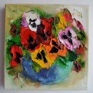 Pansies Textured Original Oil Painting Impasto Palette Knife Flowers Bouquet Europe Artist Offer
