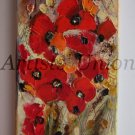 Red Flowers Original Oil Painting Impasto Poppies Poppy Impression Meadow Art Europe Artist