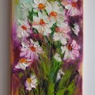 White Daisies Original Oil Painting Impasto Art Palette Knife Wild Flower Impression Europe Artist