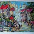 Old Paris Original Oil Painting Impasto Cityscape Walking People Town Textured Linen Europe Artist