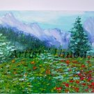 Mountain Landscape Original Oil Painting Meadow Red Poppies Impression Impasto Flowers Europe Artist