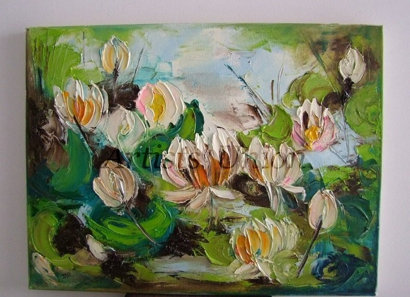 Water Lilies Impasto Original Oil Painting Palette Knife Textured Flowers  Impression Europe Artist