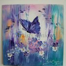 Butterfly Flowers Original Impasto Oil Painting Purple White Blue Meadow Board Europe Artist Offer
