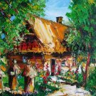 Beehives Original Oil Painting Landscape Impasto Cottage Palette Knife Impression Europe Artist