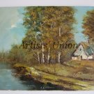 Autumn Landscape Original Oil Painting Impasto Cottage Lake Fall Forest River Europe Artist Offer