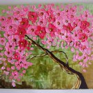 Pink Tree Original Oil Painting Abstract Impasto Textured Modern Art Cherry Flowers EU Artist Offer