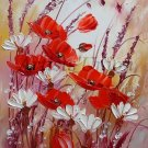 Meadow Original Oil Painting Impasto Red Poppies White Daisies Flowers Palette Knife Europe Artist