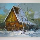 Winter Landscape Original Oil Painting Old Cottage Impasto Countryside Palette knife Europe Artist