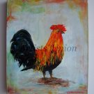 Rooster Impasto Original Oil Painting Animal Textured Colorful Bird Art Impressionist Europe Artist