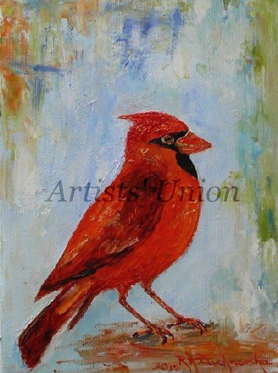 Cardinal Bird Art Original Oil Painting Impression Red Animal Art Linen artistsunion Europe Artist