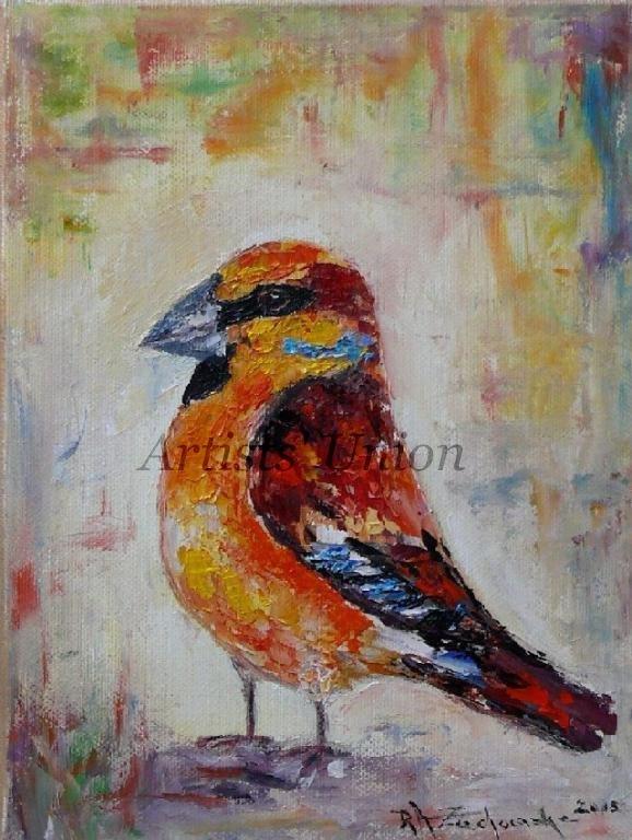 Hawfinch Grosbeak Original Oil Painting Bird Art Colorful Impression Linen artistsunion EU Artist