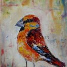 Hawfinch Grosbeak Original Oil Painting Bird Art Colorful Impression Linen artistsunion EU Artist