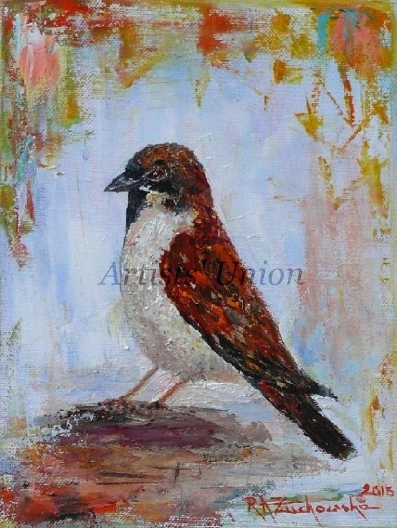 Sparrow Original Oil Painting Bird Fine Art Textured Impressionism Linen artistsunion Europe Artist