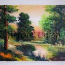 Landscape Original Oil Painting Impasto Forest River Trees Autumn Sunset Impression EU Artist OFFER