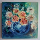 Roses Original Oil Painting Textured Still life Impasto Flowers Floral art Impression Europe Artist