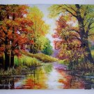 Autumn Original Oil Painting Landscape Impasto Fall River Textured Colorful Forest EU Artist Offer