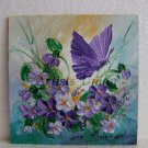Violets Butterfly Original Oil Painting Textured Art Flowers Palette Knife Impasto Fine EU Artist