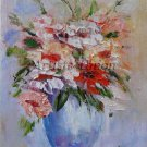 Flowers Impression Original Oil Painting Bouquet Impasto Still life Blue Vase Linen Europe Artist