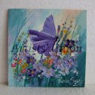 Butterfly Meadow Original Oil Painting Violets Impasto Purple Wild Flowers Impression Europe Artist