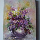 Violets Original Oil Painting Still life Impasto Purple Flowers Bouquet Impression Daisy EU Artist