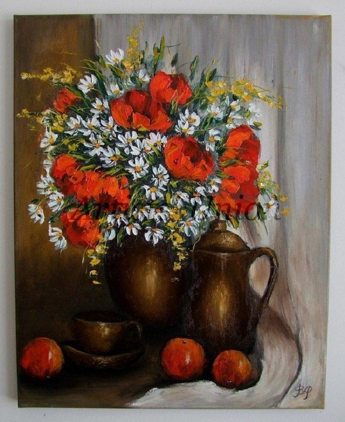 Still Life Original Oil Painting Red Poppies Fruits Impasto White Daisies Teacup Ceramic Jug EU Art