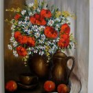 Still Life Original Oil Painting Red Poppies Fruits Impasto White Daisies Teacup Ceramic Jug EU Art