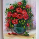Red Roses Bouquet Original Oil Painting Impasto Textured Still Life Impression Europe Artist Offer