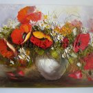 Original Oil Painting Impasto Red Poppies Still Life Daisies Textured 24in. Vase Europe Artist Offer