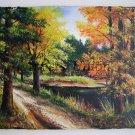 Fall Landscape Original Oil Painting Autumn Impasto Art Forest River Trees Leaves Lake Europe Artist
